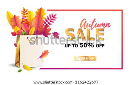 Vector illustration of bright bouquet of autumn fallen leaves in gift paper shopping bag with gold ribbon. Seasonal Autumn sale. Up to 50% off.  Luxury, festive carton package. Mock up for your design #1162422697