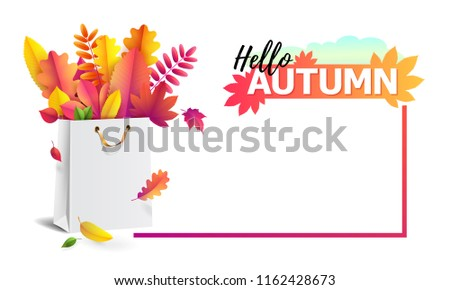 Vector illustration of bright bouquet of autumn fallen leaves in gift paper shopping bag with gold ribbon. Seasonal Autumn sale. Up to 50% off.  Luxury, festive carton package. Mock up for your design