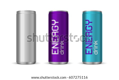 Vector illustration of bright energy drink cans in blue and purple color, isolated on white background