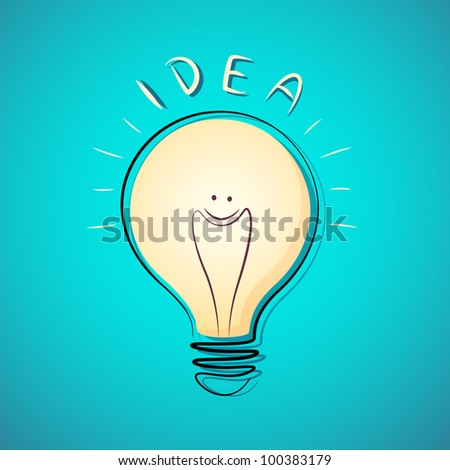 vector illustration of bright idea with glowing bulb