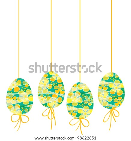 Vector illustration of bright painted Easter eggs