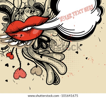 vector illustration of bright red lips and abstract doodles in a vintage style