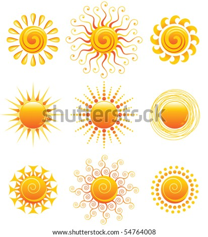 Vector illustration of 9 bright sun icons