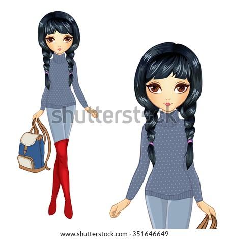 vector illustration of brunette
