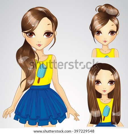 vector illustration of brunette