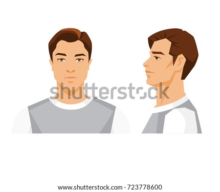 Vector illustration of brunette man's face on white background. Various turns heads. Face in front view and side view.