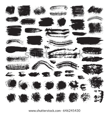Vector illustration of brush stroke set. Hand drawn by black paint grunge texture. Blot of ink collection isolated on white background. #646245430