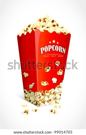 vector illustration of bucket full of crunchy pop corn