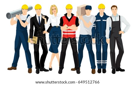 Vector illustration of building team isolated on white background. People in professional and safety uniform.