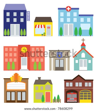 Vector illustration of buildings including store, hotel, hospital, school, police station, church, movie theater, house, and fire station.