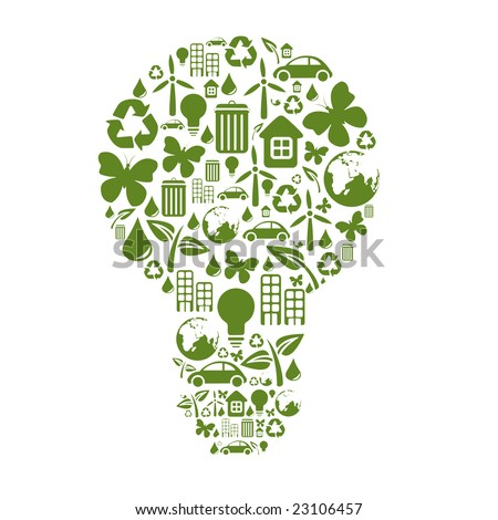 Vector illustration of bulb shape, made from different ecological items.