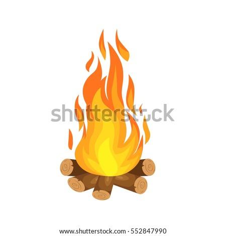 vector illustration of  burning bonfire with wood on white background Stock photo ©