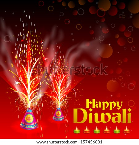 vector illustration of burning firecracker in Happy Diwali