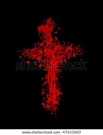 vector illustration of burninging cross