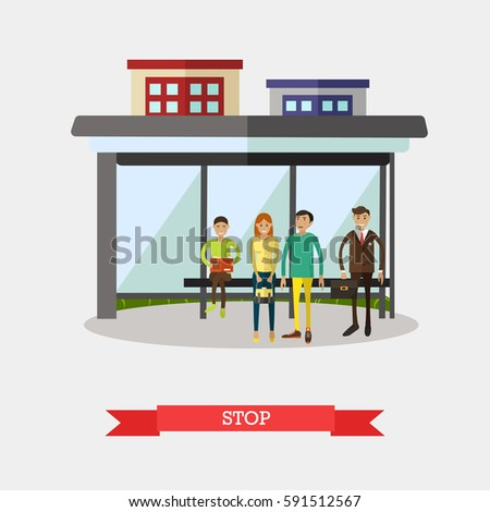 vector illustration of bus stop