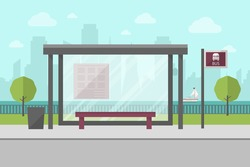 Vector Illustration of Bus Stop with City Skyline and River with Boat in Background. Flat Design Style.