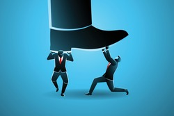 Vector illustration of business concept, big foot stepping on two businessman