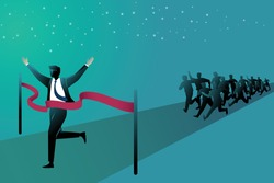 Vector illustration of business concept, businessman at the finish line