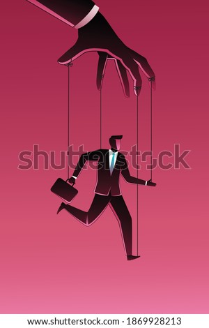 Vector illustration of business concept, businessman being controlled by puppet master  Stockfoto ©