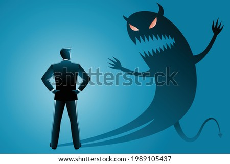 Vector illustration of business concept, businessman from back view confront with his own evil shadow Foto stock ©