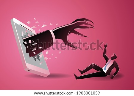 Vector illustration of business concept, small businessman scared by scary hand who appearing from mobile phone Foto stock ©