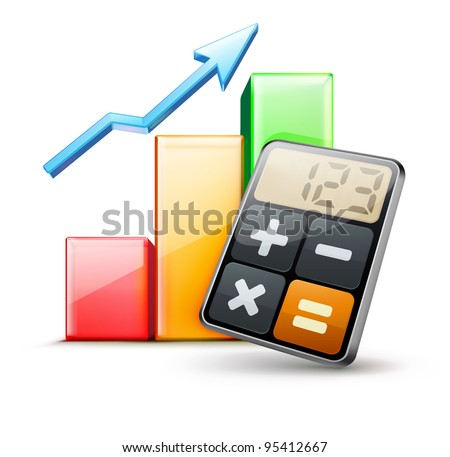 Vector illustration of business concept with calculator icon and finance graph
