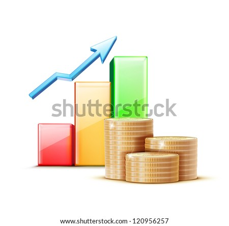 Vector illustration of business concept with finance graph and stacks of golden coins