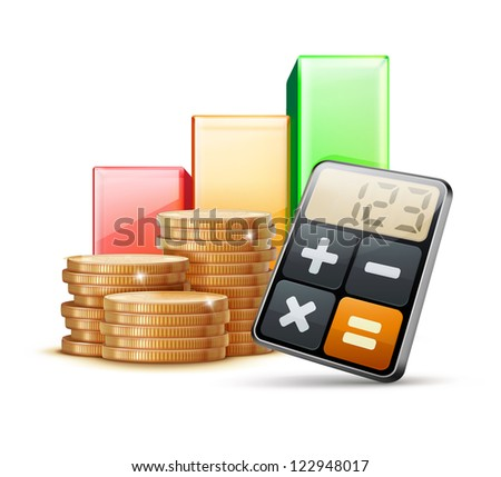 Vector illustration of business concept with finance graph, calculator and stacks of golden coins