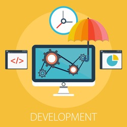 Vector illustration of business development and gear solution concept with