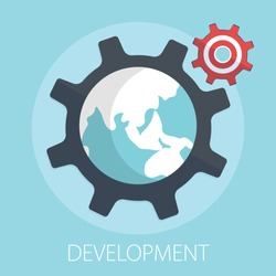 Vector illustration of business development & gear solution concept with
