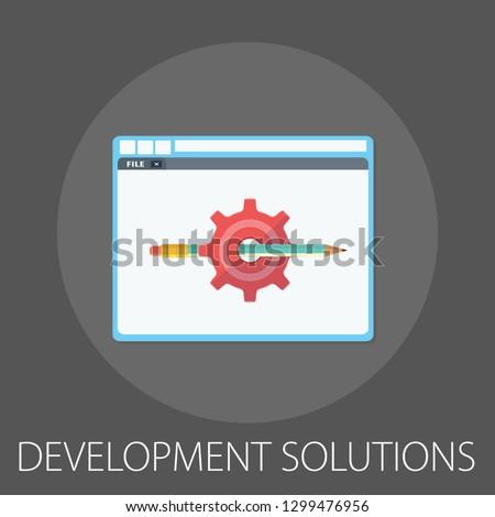 "Vector illustration of business development & solution concept with ""development solutions"" creative solution icon."