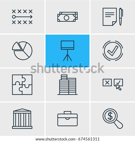 Vector Illustration Of 12 Business Icons. Editable Pack Of Building, Chart, Magnifier And Other Elements.