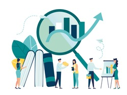 vector illustration of business, office workers are studying the infographic, the analysis of the evolutionary scale vector