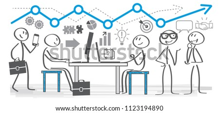 Vector illustration of business planning concept. Colleagues in a office working together