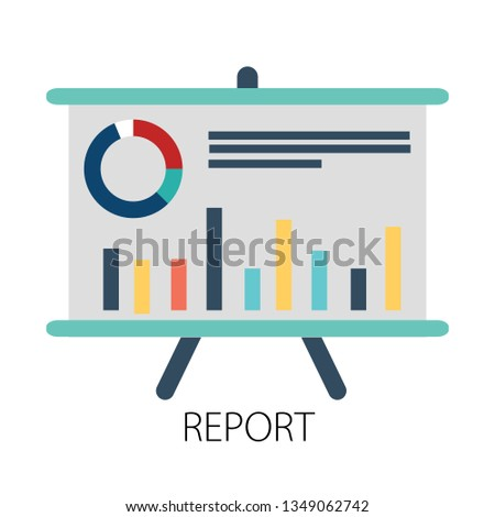 "Vector illustration of business report and financial analysis with "" report "" marketing and chart diagram"