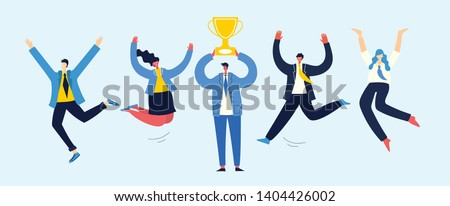 Vector illustration of Business team achievements, Team victory, Win concept with characters. Man holds a cup and celebrates success.
