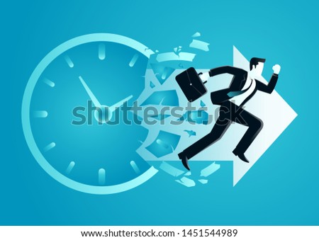 vector illustration of businessman breaking a o clock face running for a profit. describe time is money, compete, move and faster. business concept illustration Foto stock ©