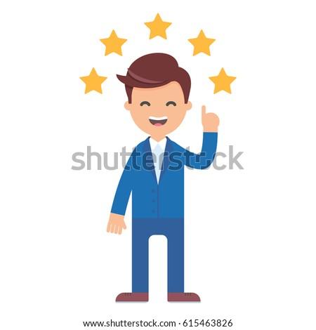 Vector illustration of businessman giving five star rating