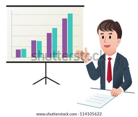 Vector illustration of Businessman making presentation, with increasing sales graph