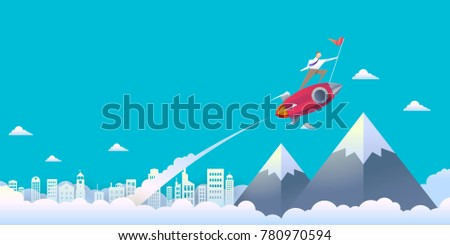 Vector illustration of businessman on rocket soaring out of the clouds. To reach the highest peak on a blue sky background above the city below, with paper style.