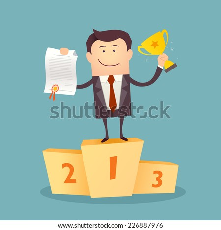 Vector illustration of businessman proudly standing on the winning podium holding up winning trophy and showing an award certificate. Flat style