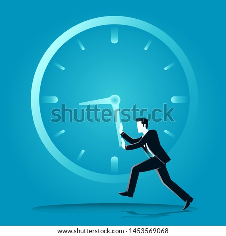 vector illustration of businessman push a clockwise o clock. describe time is money, compete, move and faster. business concept illustration Foto stock ©