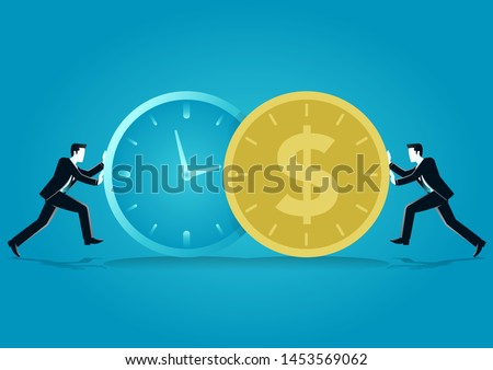 vector illustration of businessman push a o clock and coin. describe time is money, compete, move and faster. business concept illustration Foto stock ©