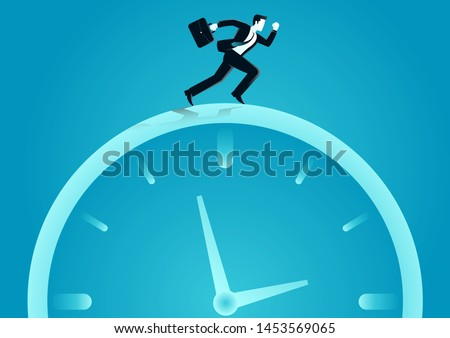 vector illustration of businessman running above a o clock. describe time is money, compete, move and faster. business concept illustration Foto stock ©