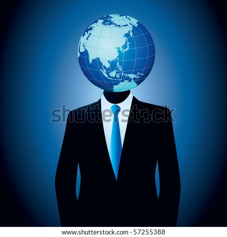 Vector illustration of businessman thinking globally...