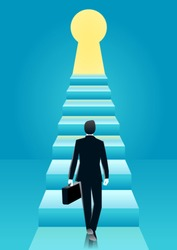 vector illustration of businessman walk towards to the stairs into keyhole with bright light. business concept illustration