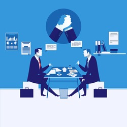 Vector illustration of businessmen having meeting. Arm wrestling symbol, icon. Business meeting and competition concept design element in flat style.