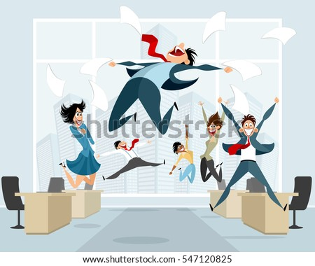 Vector illustration of businessmen in office jumping