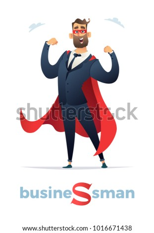 Vector illustration of businessmen super hero character, office worker man Superhero. Businessman in red cloak or cape and eye mask, standing in a superhero pose.