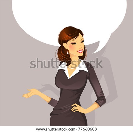 Vector illustration of Businesswoman speaking